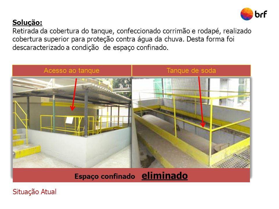 Situação Atual Solução: Retirada da cobertura do tanque, confeccionado corrimão e rodapé, realizado cobertura superior para proteção contra água da ch