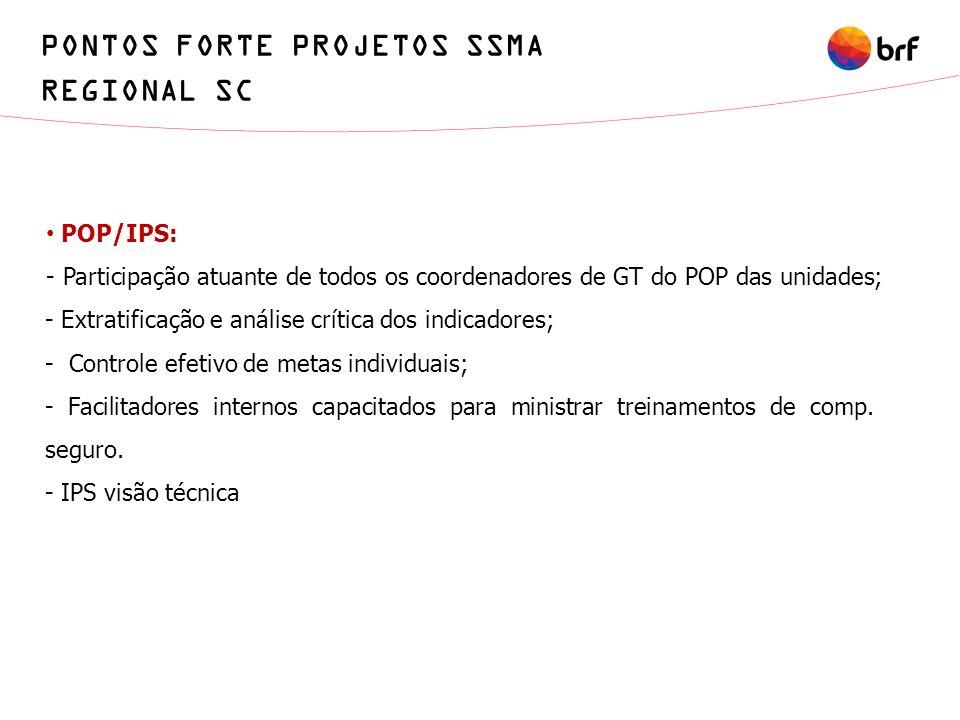 POP/IPS: - Participação atuante de todos os coordenadores de GT do POP das unidades; - Extratificação e análise crítica dos indicadores; - Controle ef