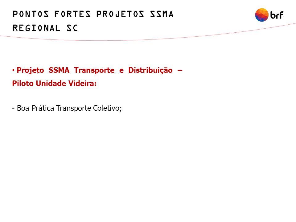 Projeto SSMA Transporte e Distribuição – Piloto Unidade Videira: - Boa Prática Transporte Coletivo; PONTOS FORTES PROJETOS SSMA REGIONAL SC