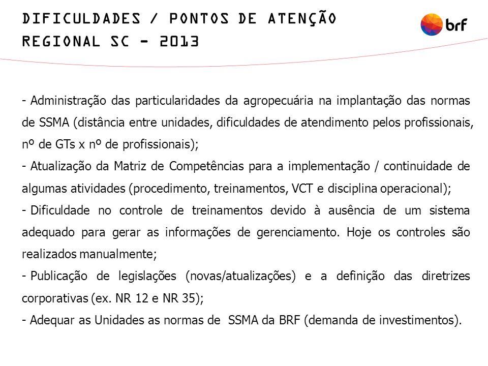 - Administração das particularidades da agropecuária na implantação das normas de SSMA (distância entre unidades, dificuldades de atendimento pelos pr