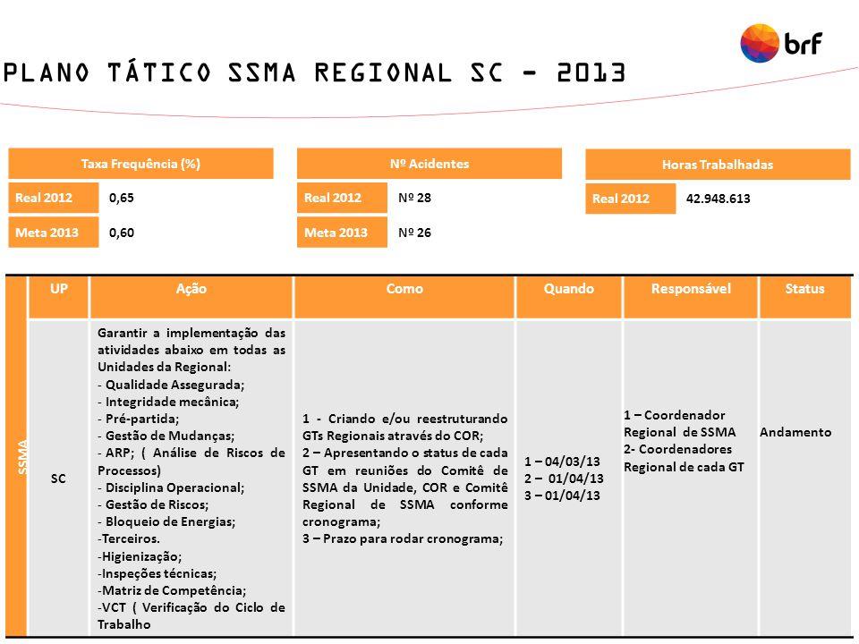 PLANO TÁTICO SSMA REGIONAL SC - 2013 Taxa Frequência (%) Real 20120,65 Meta 20130,60 Nº Acidentes Real 2012Nº 28 Meta 2013Nº 26 Horas Trabalhadas Real