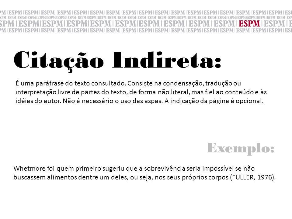 Citação Indireta: É uma paráfrase do texto consultado. Consiste na condensação, tradução ou interpretação livre de partes do texto, de forma não liter