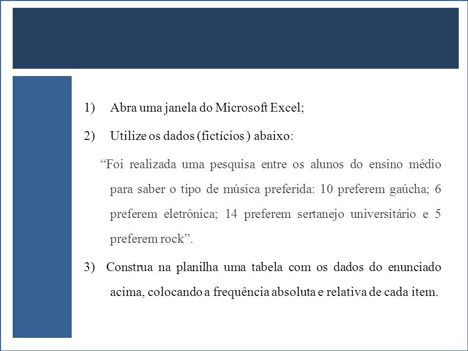 1)Abra uma janela do Microsoft Excel; 2)Utilize os dados (fictícios ) abaixo: Foi realizada uma pesquisa entre os alunos do ensino médio para saber o
