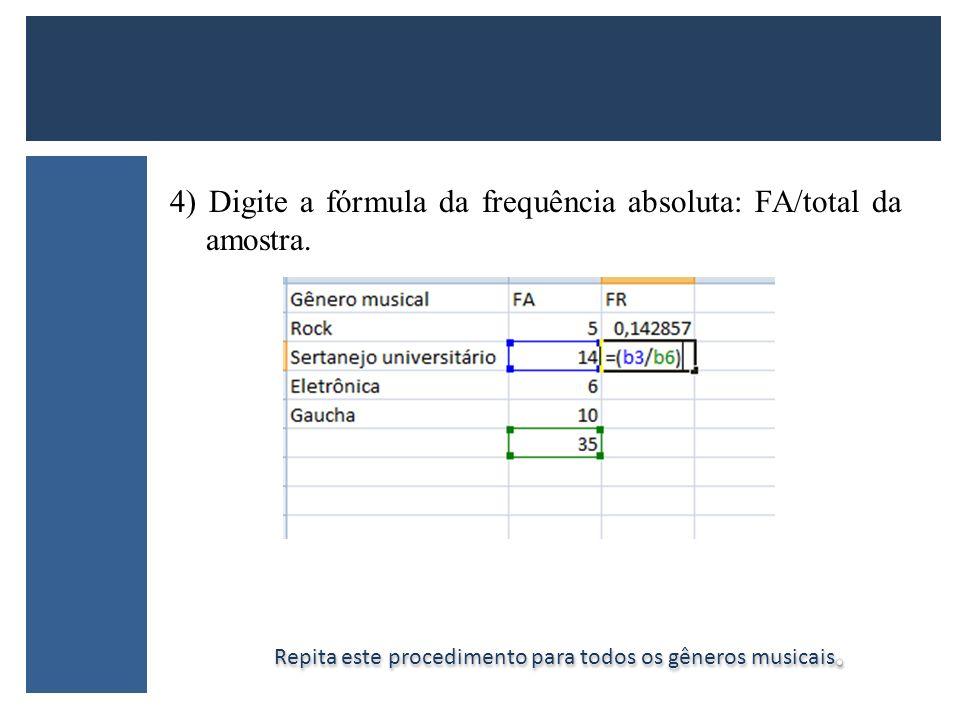 4) Digite a fórmula da frequência absoluta: FA/total da amostra.