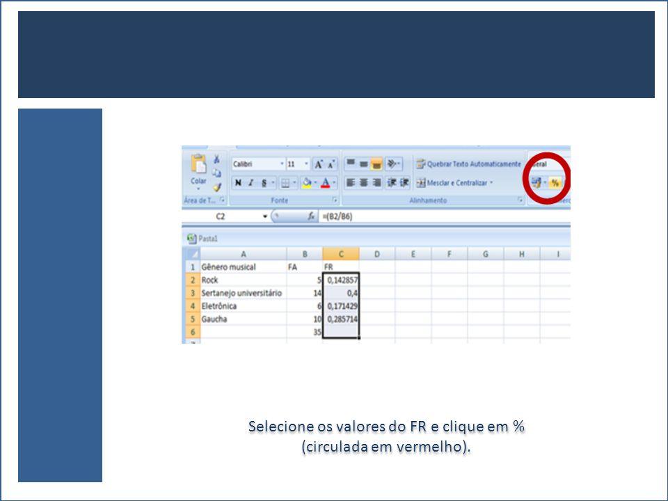 Selecione os valores do FR e clique em % (circulada em vermelho). Selecione os valores do FR e clique em % (circulada em vermelho).