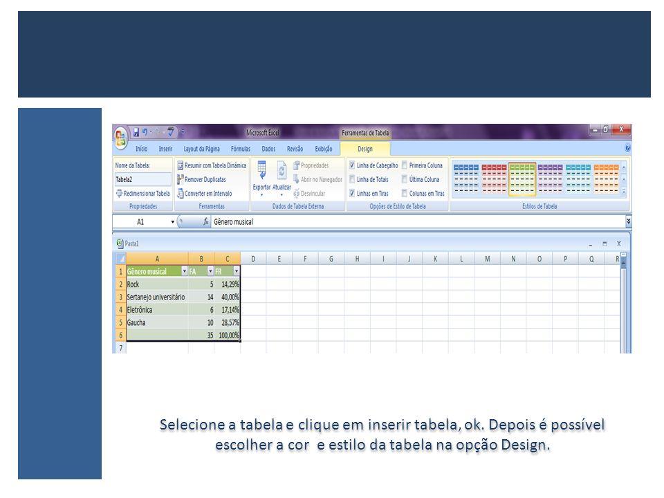 Selecione a tabela e clique em inserir tabela, ok. Depois é possível escolher a cor e estilo da tabela na opção Design.