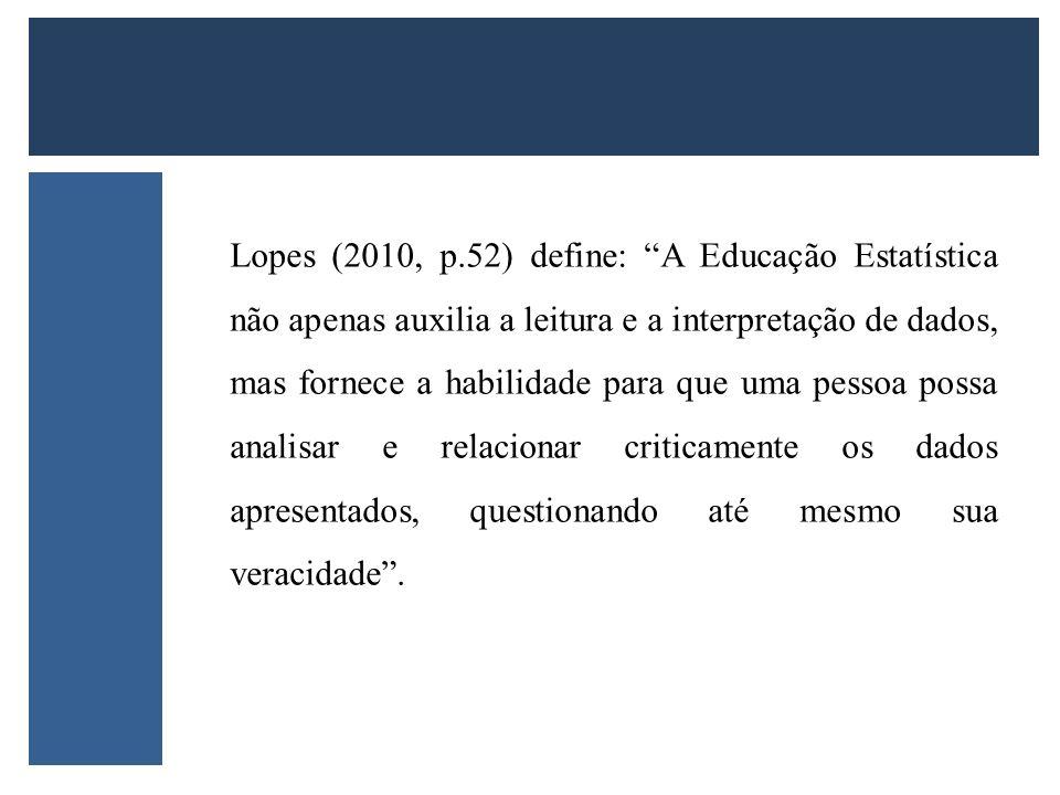 Lopes (2010, p.52) define: A Educação Estatística não apenas auxilia a leitura e a interpretação de dados, mas fornece a habilidade para que uma pesso