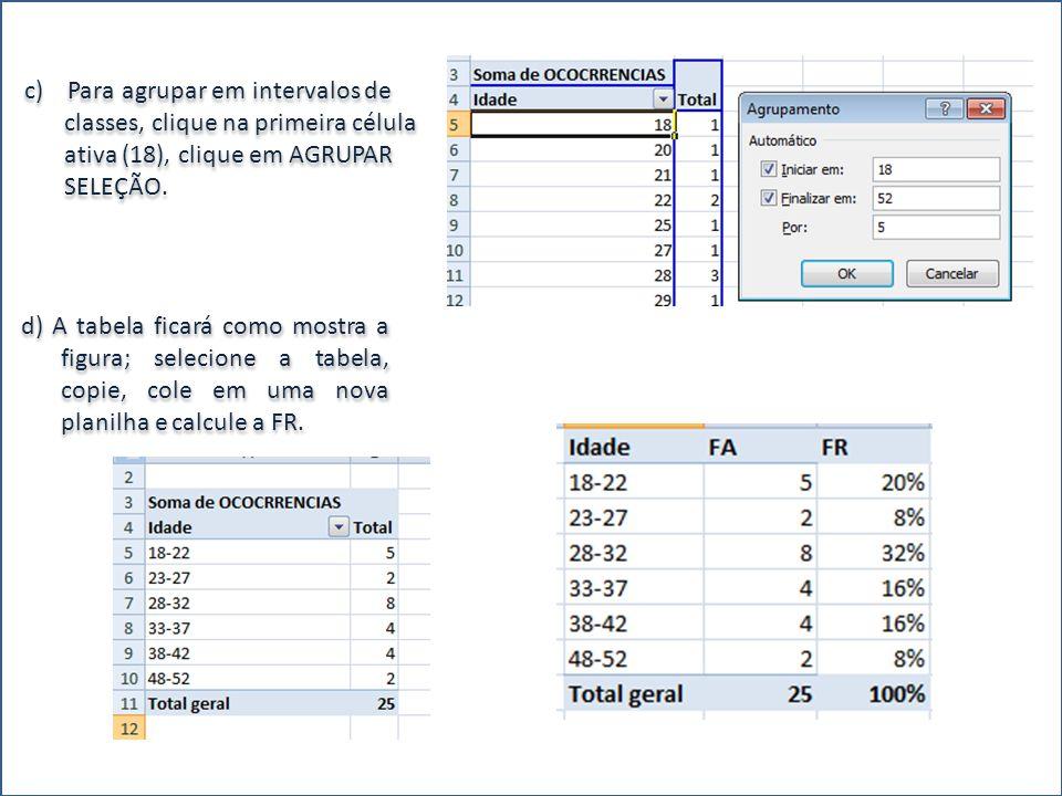 c) Para agrupar em intervalos de classes, clique na primeira célula ativa (18), clique em AGRUPAR SELEÇÃO. d) A tabela ficará como mostra a figura; se