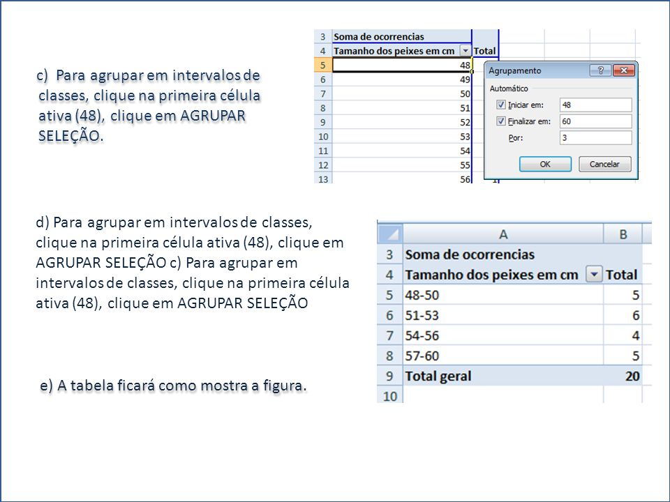 c) Para agrupar em intervalos de classes, clique na primeira célula ativa (48), clique em AGRUPAR SELEÇÃO. e) A tabela ficará como mostra a figura. d)