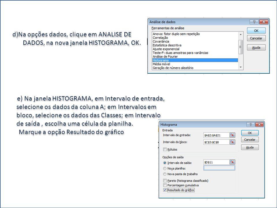 d)Na opções dados, clique em ANALISE DE DADOS, na nova janela HISTOGRAMA, OK. e) Na janela HISTOGRAMA, em Intervalo de entrada, selecione os dados da