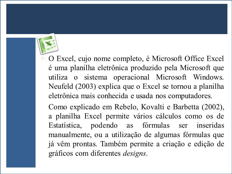 O Excel, cujo nome completo, é Microsoft Office Excel é uma planilha eletrônica produzido pela Microsoft que utiliza o sistema operacional Microsoft W