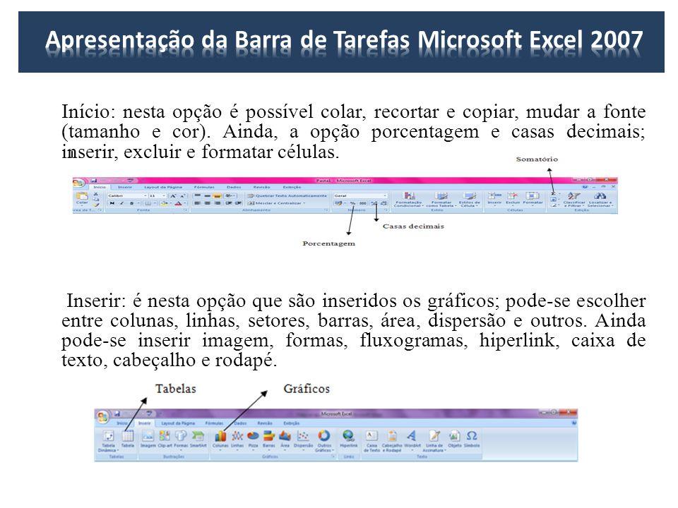 Início: nesta opção é possível colar, recortar e copiar, mudar a fonte (tamanho e cor). Ainda, a opção porcentagem e casas decimais; inserir, excluir
