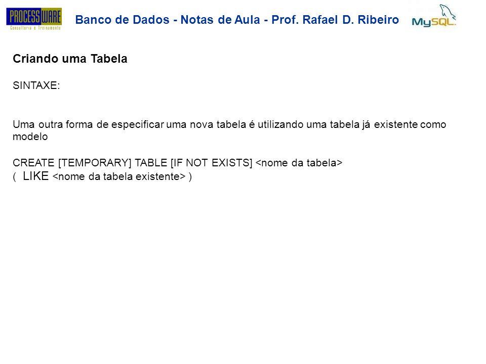 Banco de Dados - Notas de Aula - Prof. Rafael D. Ribeiro Criando uma Tabela SINTAXE: Uma outra forma de especificar uma nova tabela é utilizando uma t