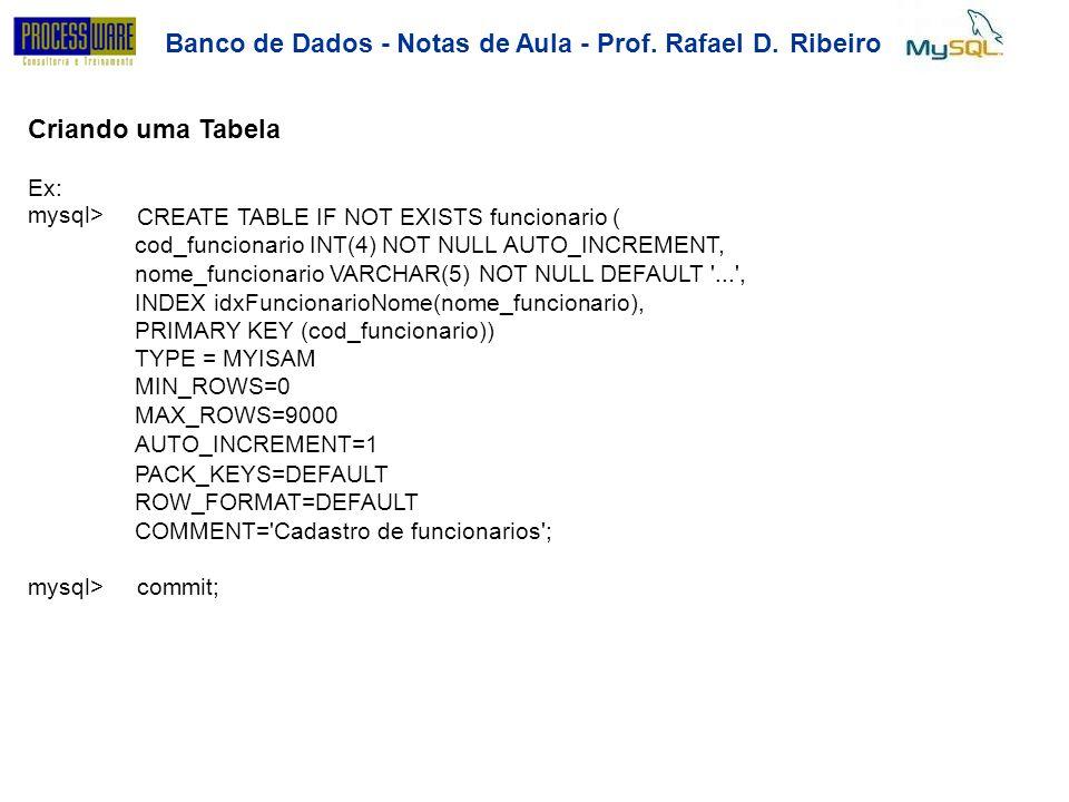 Banco de Dados - Notas de Aula - Prof. Rafael D.Ribeiro Criando uma Tabela Ex:mysql>Ex:mysql> CREATE TABLE IF NOT EXISTS funcionario ( cod_funcionario