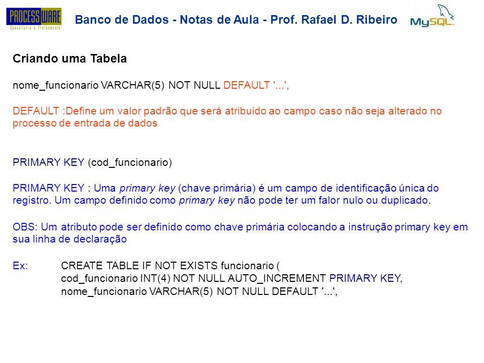 Banco de Dados - Notas de Aula - Prof. Rafael D. Ribeiro Criando uma Tabela nome_funcionario VARCHAR(5) NOT NULL DEFAULT '...', DEFAULT :Define um val