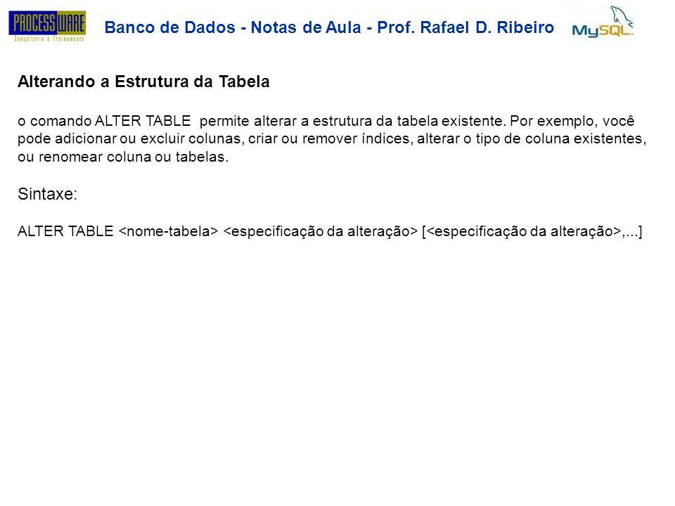 Banco de Dados - Notas de Aula - Prof. Rafael D. Ribeiro Alterando a Estrutura da Tabela o comando ALTER TABLE permite alterar a estrutura da tabela e