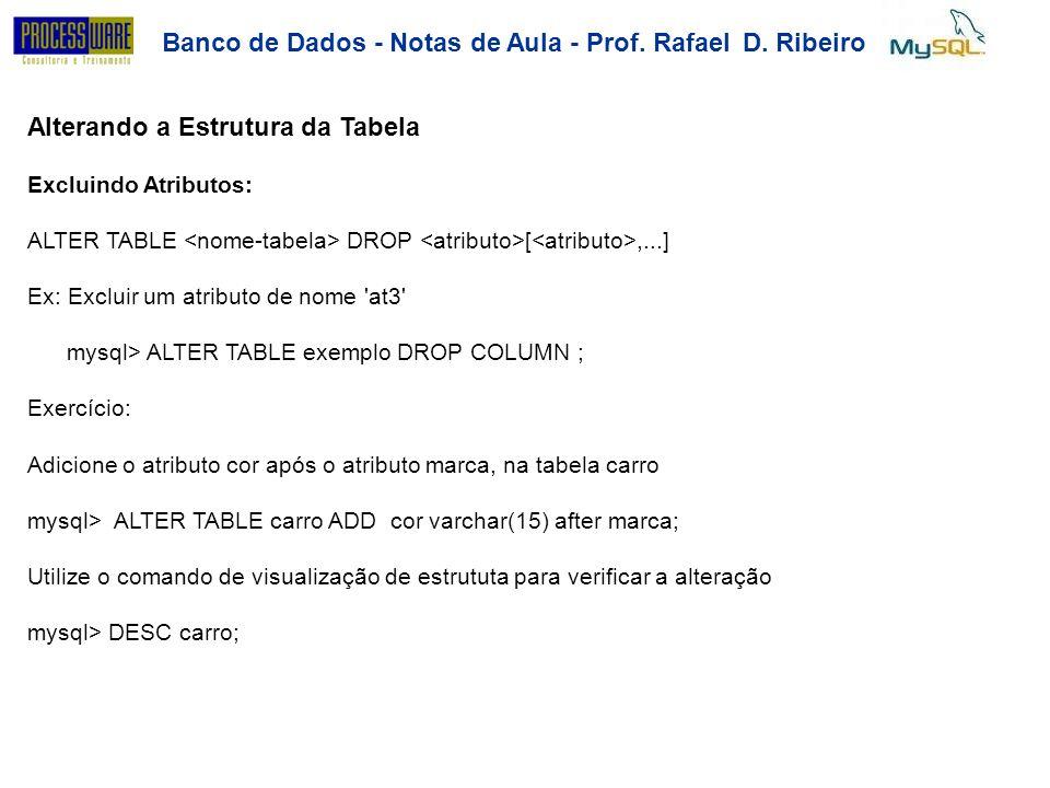 Banco de Dados - Notas de Aula - Prof. RafaelD.Ribeiro Alterando a Estrutura da Tabela Excluindo Atributos: ALTER TABLE DROP [,...] Ex: Excluir um atr