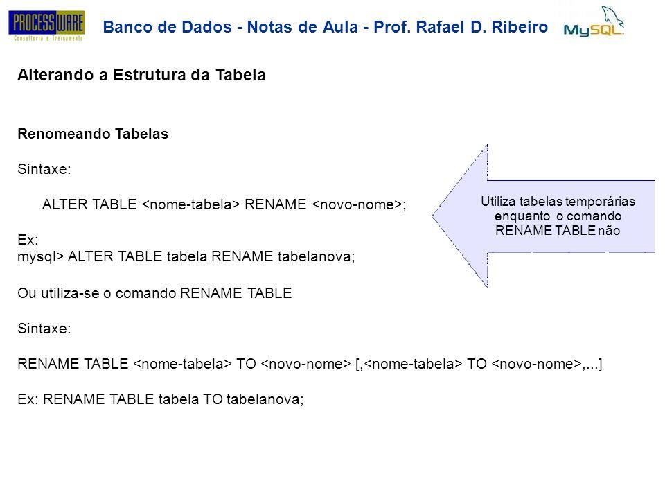 Banco de Dados - Notas deAula-Prof.RafaelD.Ribeiro Alterando a Estrutura da Tabela Renomeando Tabelas Sintaxe: Utiliza tabelas temporárias enquanto o
