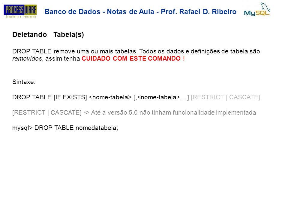 Banco de Dados - Notas de Aula - Prof. Rafael D. Ribeiro DeletandoTabela(s) DROP TABLE remove uma ou mais tabelas. Todos os dados e definições de tabe