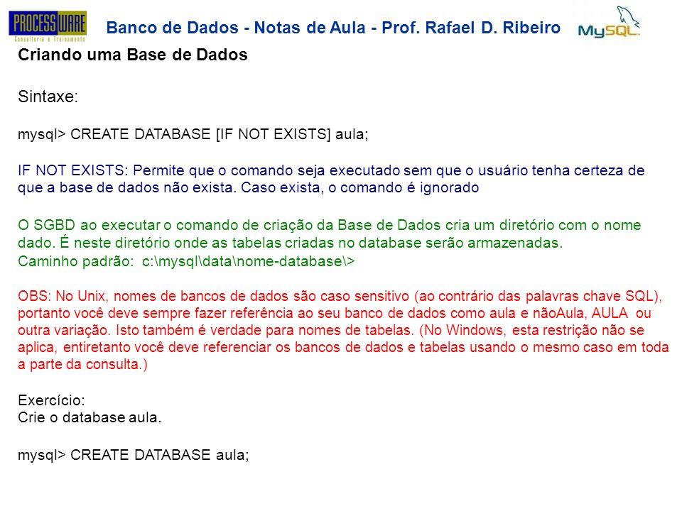 Banco de Dados - Notas de Aula - Prof. Rafael D. Ribeiro Criando uma Base de Dados Sintaxe: mysql> CREATE DATABASE [IF NOT EXISTS] aula; IF NOT EXISTS