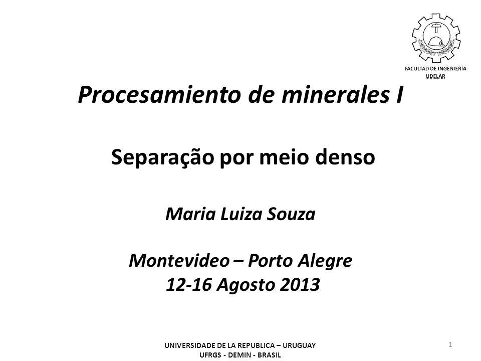 Procesamiento de minerales I Separação por meio denso Maria Luiza Souza Montevideo – Porto Alegre 12-16 Agosto 2013 1 UNIVERSIDADE DE LA REPUBLICA – U