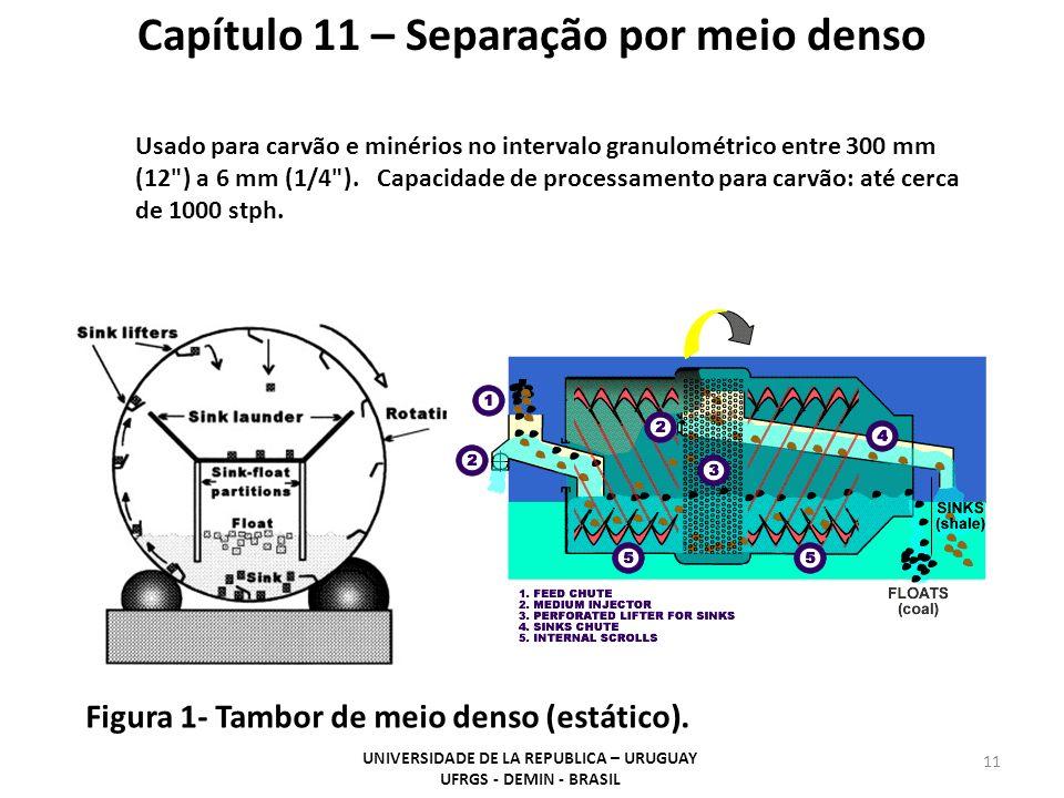 11 Capítulo 11 – Separação por meio denso UNIVERSIDADE DE LA REPUBLICA – URUGUAY UFRGS - DEMIN - BRASIL Figura 1- Tambor de meio denso (estático). Usa