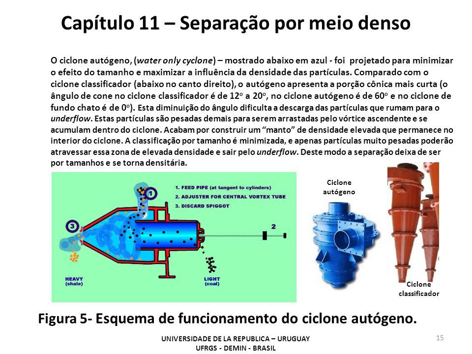 15 Capítulo 11 – Separação por meio denso UNIVERSIDADE DE LA REPUBLICA – URUGUAY UFRGS - DEMIN - BRASIL Figura 5- Esquema de funcionamento do ciclone