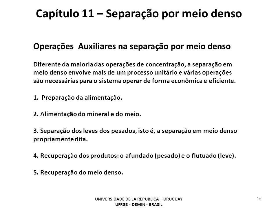 16 Capítulo 11 – Separação por meio denso UNIVERSIDADE DE LA REPUBLICA – URUGUAY UFRGS - DEMIN - BRASIL Operações Auxiliares na separação por meio den
