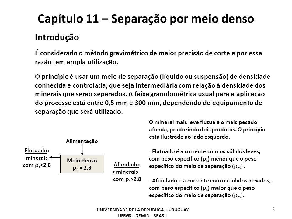 Capítulo 11 – Separação por meio denso UNIVERSIDADE DE LA REPUBLICA – URUGUAY UFRGS - DEMIN - BRASIL 2 Introdução É considerado o método gravimétrico
