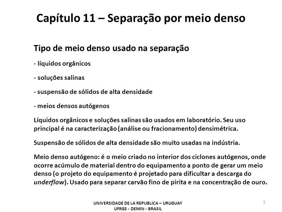 Capítulo 11 – Separação por meio denso UNIVERSIDADE DE LA REPUBLICA – URUGUAY UFRGS - DEMIN - BRASIL 3 Tipo de meio denso usado na separação - líquido