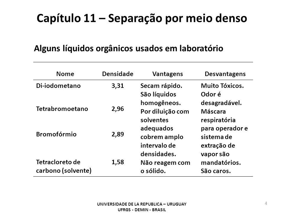 Capítulo 11 – Separação por meio denso UNIVERSIDADE DE LA REPUBLICA – URUGUAY UFRGS - DEMIN - BRASIL 4 Alguns líquidos orgânicos usados em laboratório