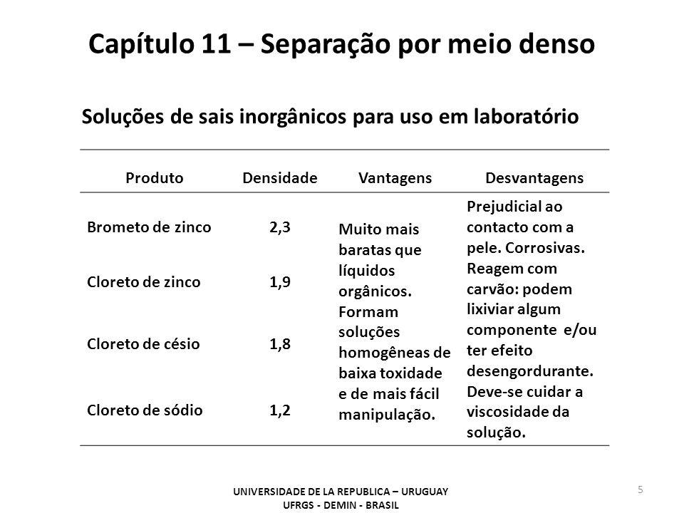 Capítulo 11 – Separação por meio denso UNIVERSIDADE DE LA REPUBLICA – URUGUAY UFRGS - DEMIN - BRASIL 5 Soluções de sais inorgânicos para uso em labora
