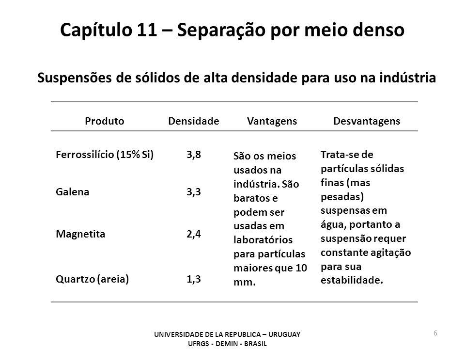 Capítulo 11 – Separação por meio denso UNIVERSIDADE DE LA REPUBLICA – URUGUAY UFRGS - DEMIN - BRASIL 6 Suspensões de sólidos de alta densidade para us