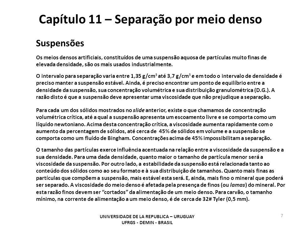 Capítulo 11 – Separação por meio denso UNIVERSIDADE DE LA REPUBLICA – URUGUAY UFRGS - DEMIN - BRASIL 7 Suspensões Os meios densos artificiais, constit