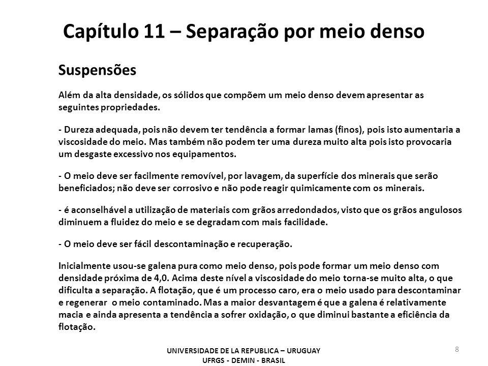 Capítulo 11 – Separação por meio denso UNIVERSIDADE DE LA REPUBLICA – URUGUAY UFRGS - DEMIN - BRASIL 8 Suspensões Além da alta densidade, os sólidos q
