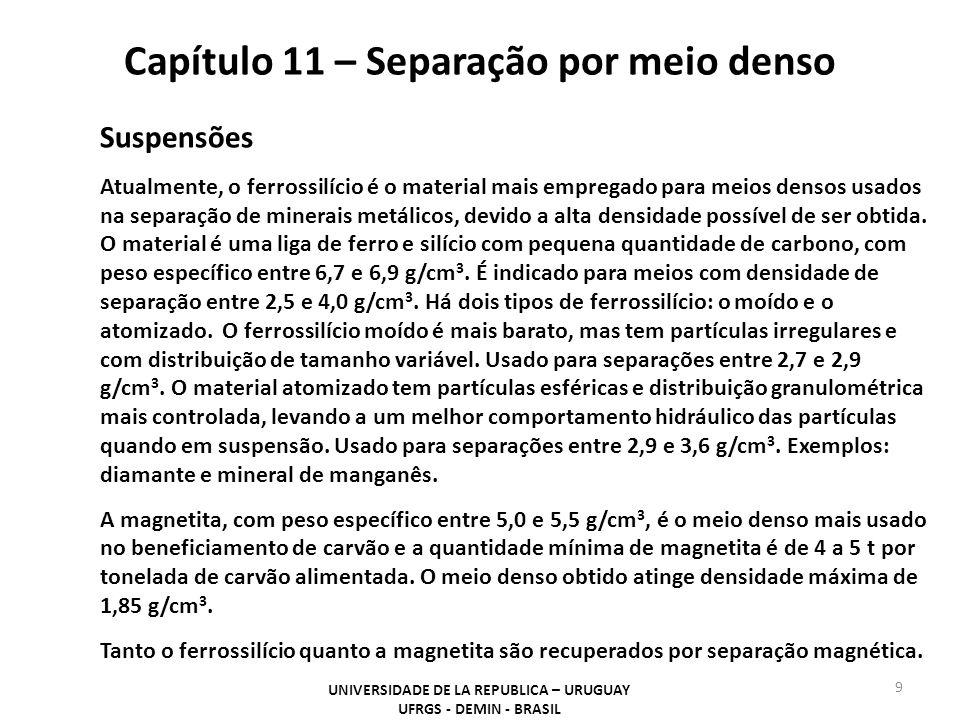 Capítulo 11 – Separação por meio denso UNIVERSIDADE DE LA REPUBLICA – URUGUAY UFRGS - DEMIN - BRASIL 9 Suspensões Atualmente, o ferrossilício é o mate