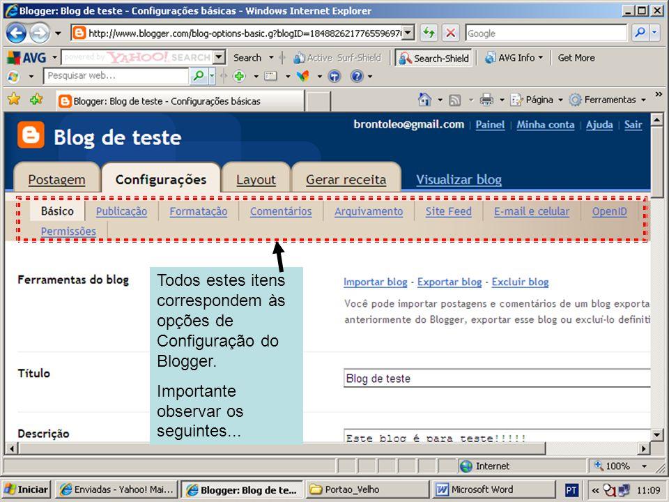 Na Guia Básico, pode ser alterado o Título e complementado o parágrafo de introdução ao blog (Descrição).