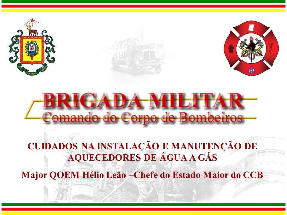 CUIDADOS NA INSTALAÇÃO E MANUTENÇÃO DE AQUECEDORES DE ÁGUA A GÁS Major QOEM Hélio Leão –Chefe do Estado Maior do CCB