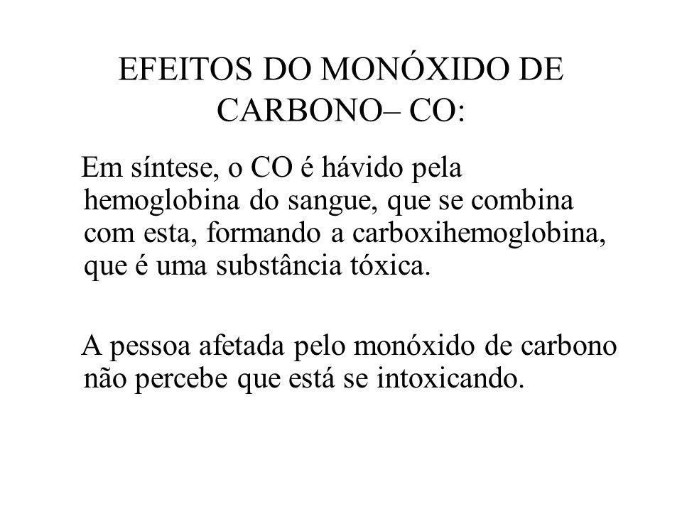 EFEITOS DO MONÓXIDO DE CARBONO– CO: Em síntese, o CO é hávido pela hemoglobina do sangue, que se combina com esta, formando a carboxihemoglobina, que