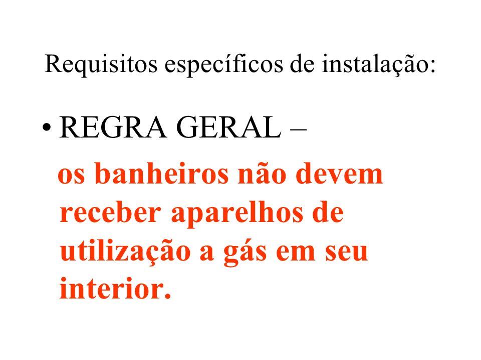 Requisitos específicos de instalação: REGRA GERAL – os banheiros não devem receber aparelhos de utilização a gás em seu interior.