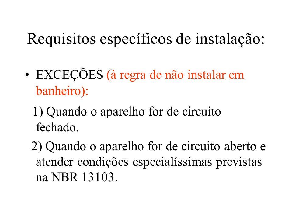 Requisitos específicos de instalação: EXCEÇÕES (à regra de não instalar em banheiro): 1) Quando o aparelho for de circuito fechado. 2) Quando o aparel