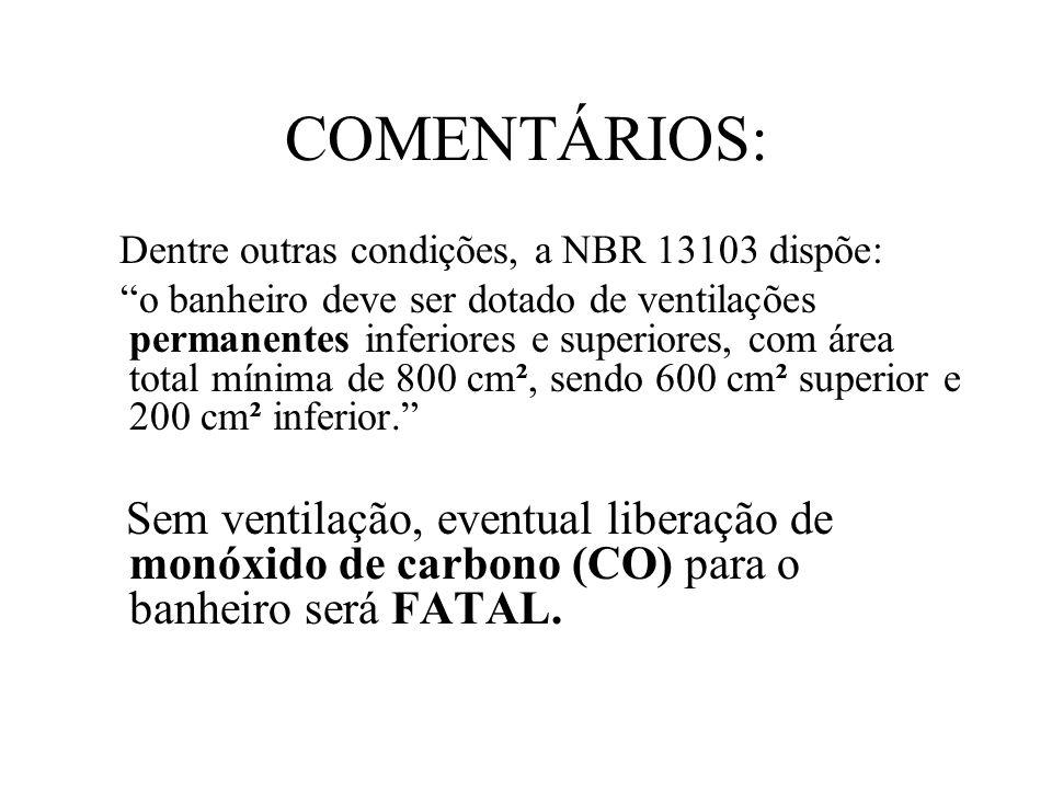 COMENTÁRIOS: Dentre outras condições, a NBR 13103 dispõe: o banheiro deve ser dotado de ventilações permanentes inferiores e superiores, com área tota