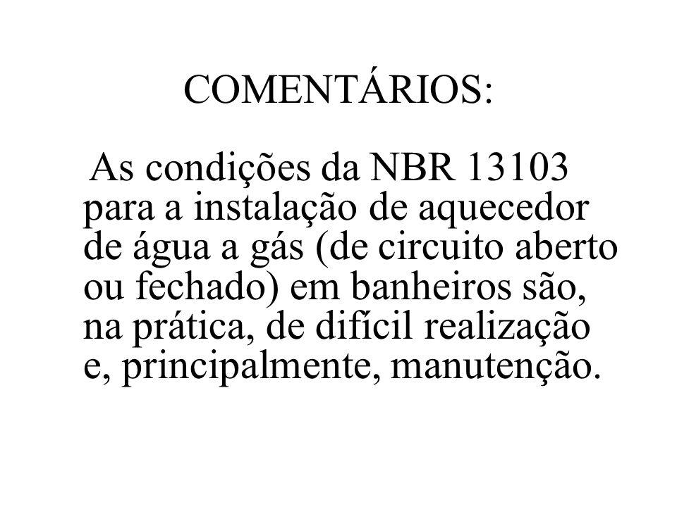 COMENTÁRIOS: As condições da NBR 13103 para a instalação de aquecedor de água a gás (de circuito aberto ou fechado) em banheiros são, na prática, de d