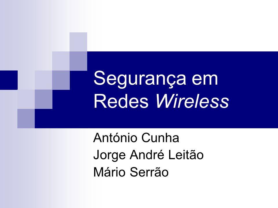 Segurança em Redes Wireless António Cunha Jorge André Leitão Mário Serrão