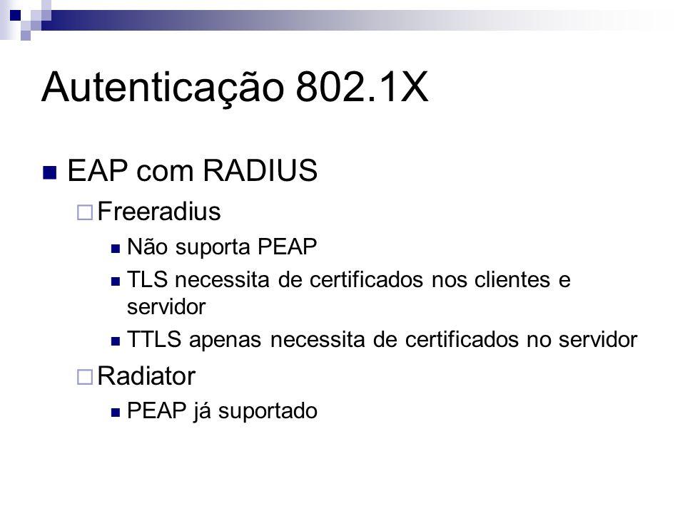 Autenticação 802.1X EAP com RADIUS Freeradius Não suporta PEAP TLS necessita de certificados nos clientes e servidor TTLS apenas necessita de certific