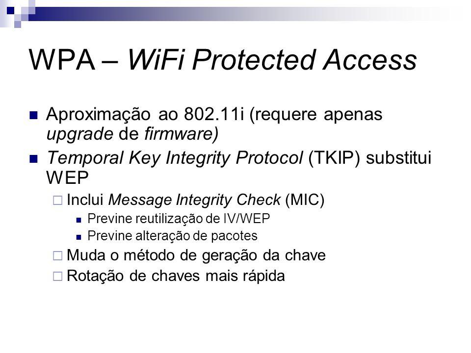 WPA – WiFi Protected Access Aproximação ao 802.11i (requere apenas upgrade de firmware) Temporal Key Integrity Protocol (TKIP) substitui WEP Inclui Me