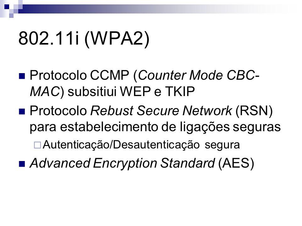 802.11i (WPA2) Protocolo CCMP (Counter Mode CBC- MAC) subsitiui WEP e TKIP Protocolo Rebust Secure Network (RSN) para estabelecimento de ligações segu
