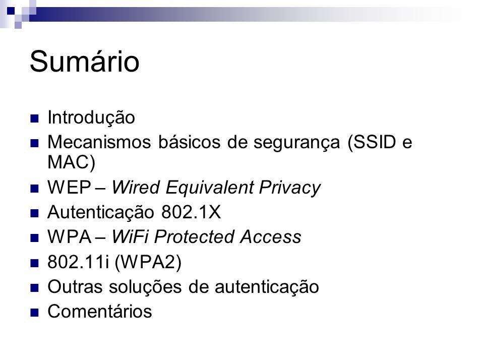 Sumário Introdução Mecanismos básicos de segurança (SSID e MAC) WEP – Wired Equivalent Privacy Autenticação 802.1X WPA – WiFi Protected Access 802.11i