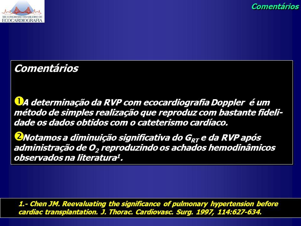 Comentários A determinação da RVP com ecocardiografia Doppler é um método de simples realização que reproduz com bastante fideli- dade os dados obtido