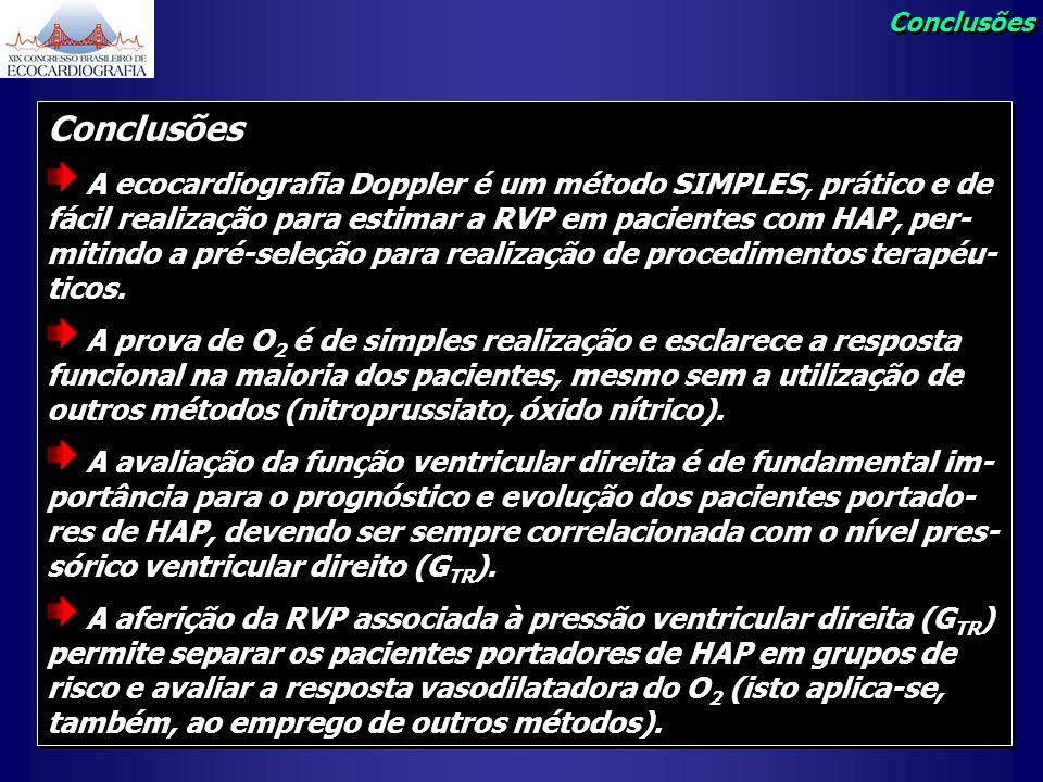 Conclusões A ecocardiografia Doppler é um método SIMPLES, prático e de fácil realização para estimar a RVP em pacientes com HAP, per- mitindo a pré-se